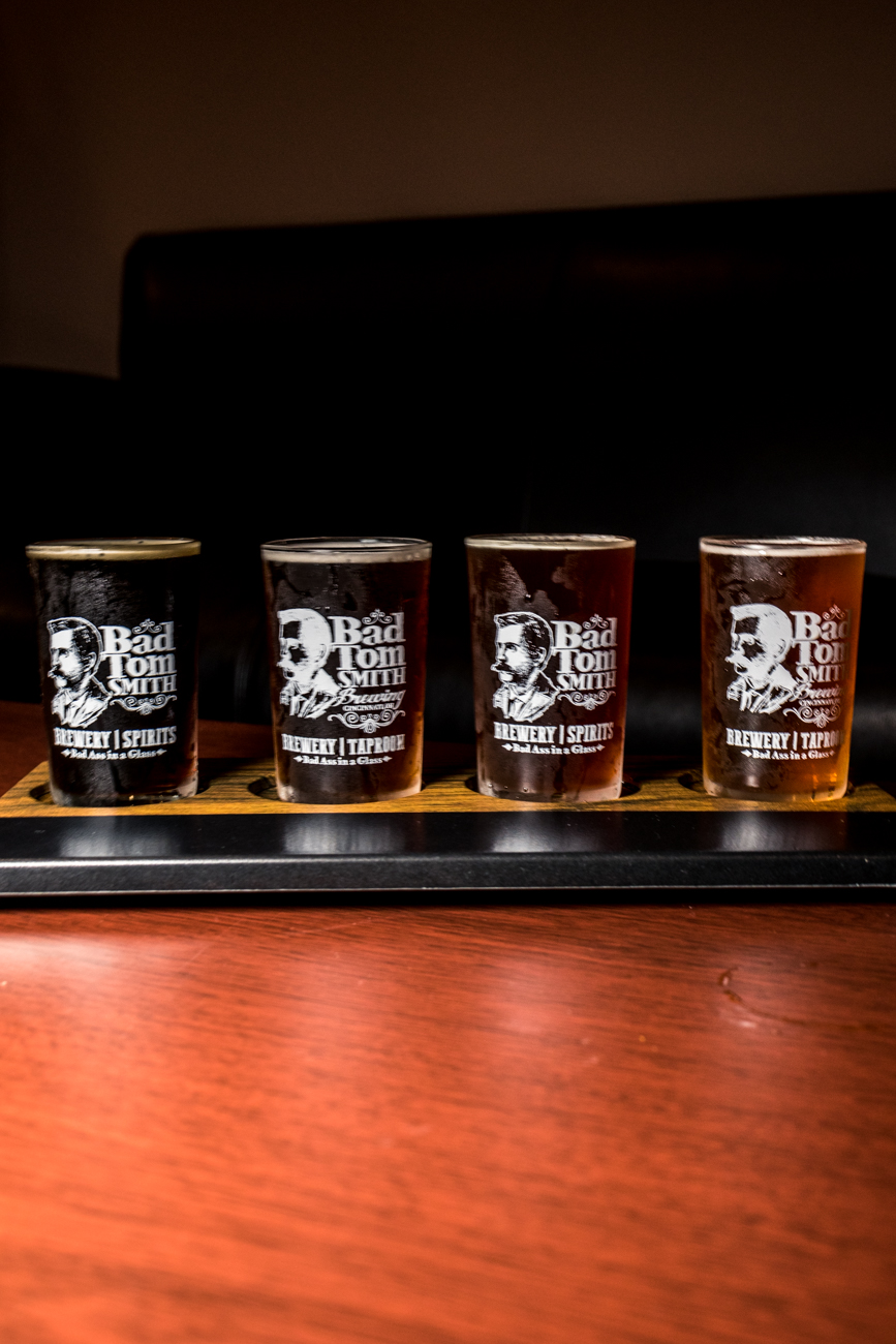 A flight including Bad Tom Smith American Brown Ale, Doc's Kentucky Common, Fink Red Rye, and 13 Preachers Marzen Lager / Image: Catherine Viox // Published: 1.20.20