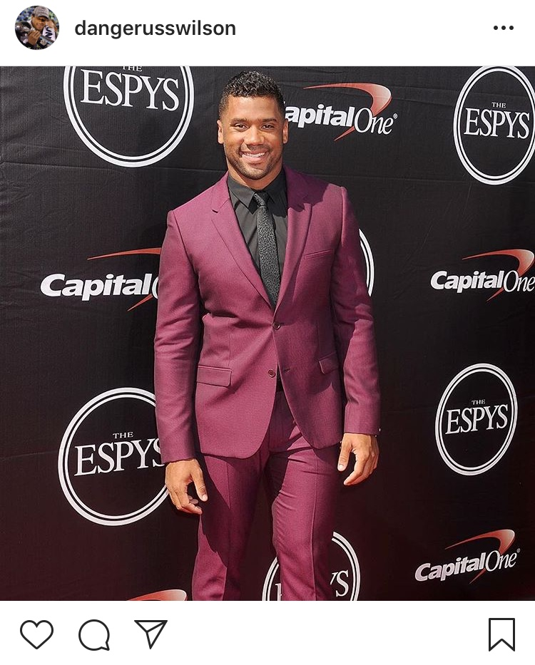 That one time he stunned in red...Happy 30th, Russell! (Image: @dangerusswilcon / Instagram.com/dangerusswilson){ }