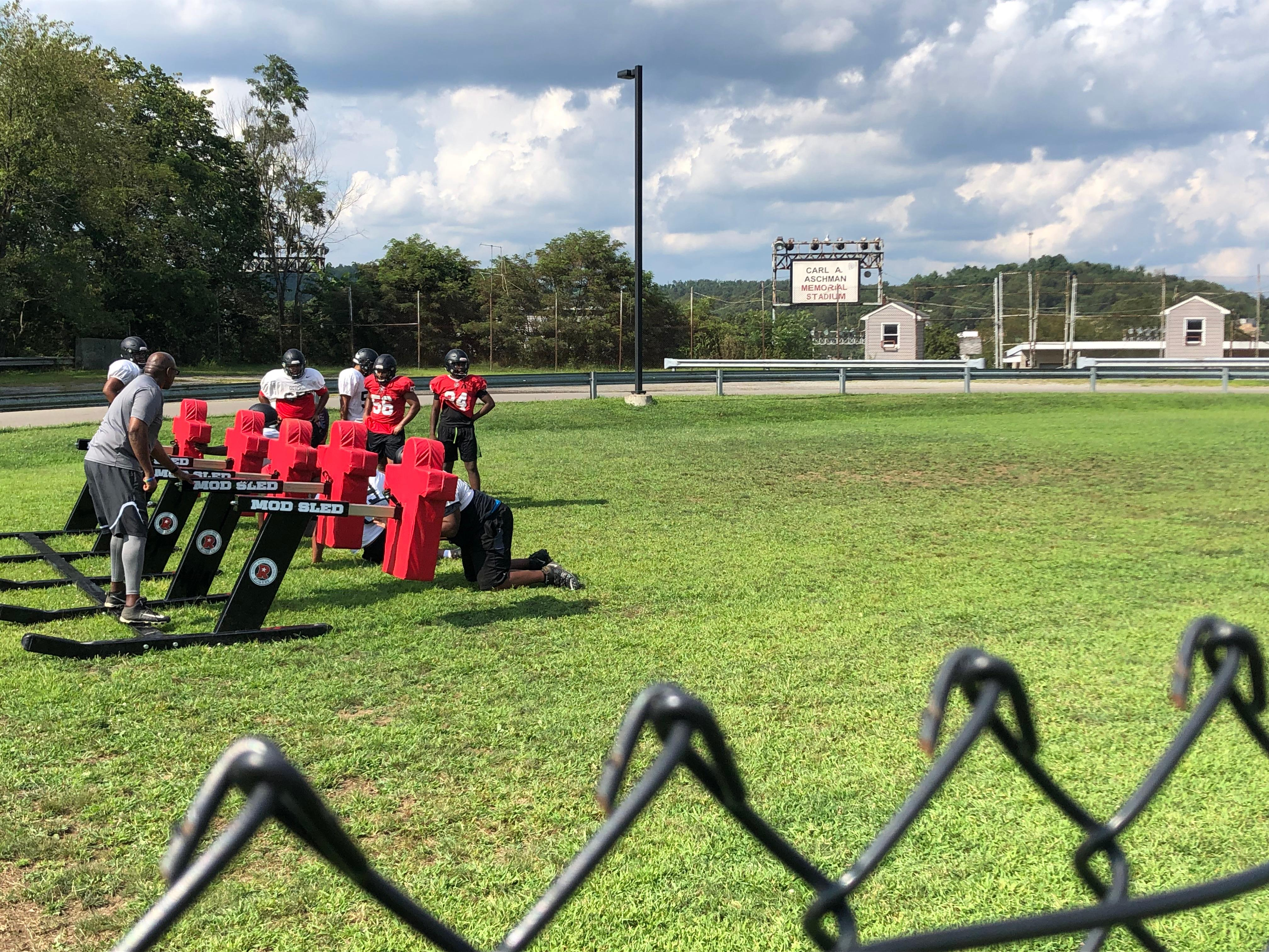 "Aliquippa lineman take turns on the blocking sled during an August practice.{ }Watch the AHN Friday Night Rivals powered by IGS Energy ""Kickoff Special"" Aug. 23 at 7 p.m. on 22 the Point."