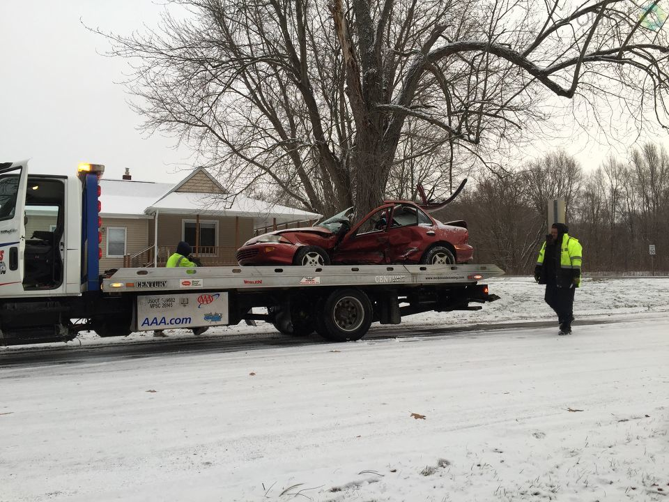 More than 30 cars were involved in pile-up on Interstate 94 as the morning snow covered the roadway Thursday, Dec. 7, 2017. Michigan State Police said there were no major injuries and the road was cleared by 11:10 a.m. (WWMT/Jessica Wheeler)