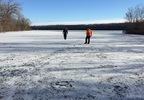 Ice fishermen check conditions on the Fox River in Kaukauna Jan. 12, 2018.