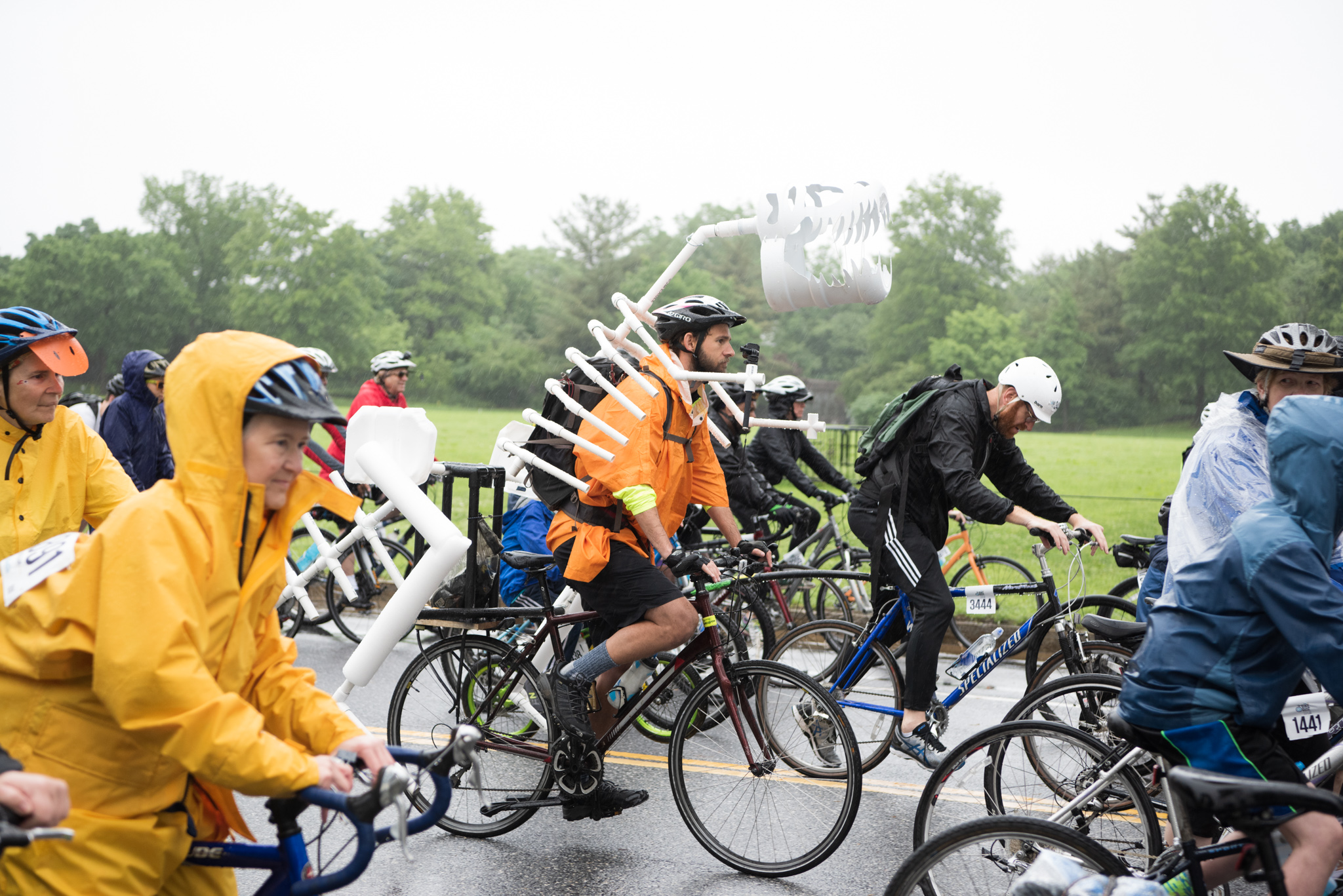 The third annual DC Bike Ride, a{ }closed-road, recreational bike ride, returned to the streets of D.C. on Saturday, May 19 2018. Despite the days-on-end raining, thousands{ } of participants{ } from all over the country showed up bright and early to take a scenic bike tour of D.C. Riders could choose from a 20-mile course, or a six-mile shortcut to the finish line.{ }The event has also raised $70,000+ for WABA's vision zero education programming. (Image: Jeff Martin/ DC Refined)