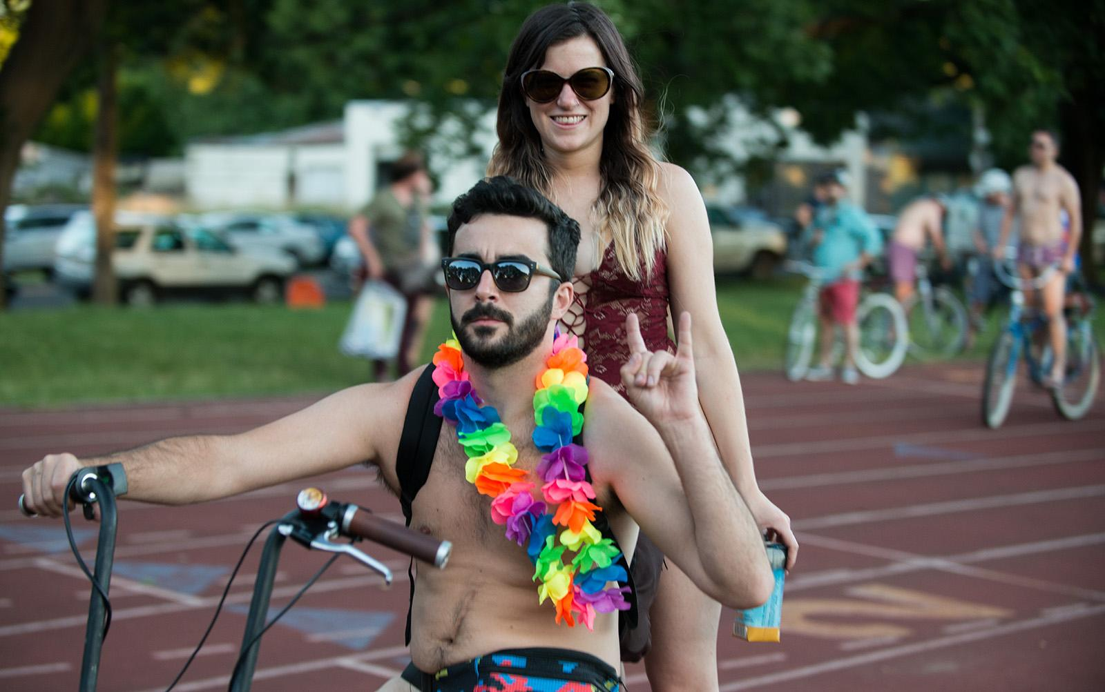 Bare bicyclists filled the streets of Portland on Saturday for the annual World Naked Bike Ride. The ride draws attention to global oil dependancy, promotes body-positive messages, and highlights the vulnerability of cyclists on the roads. The group gathered in Fernhill Park before riding into Southeast Portland. (KATU photo taken 6-24-2017 by Tristan Fortsch)