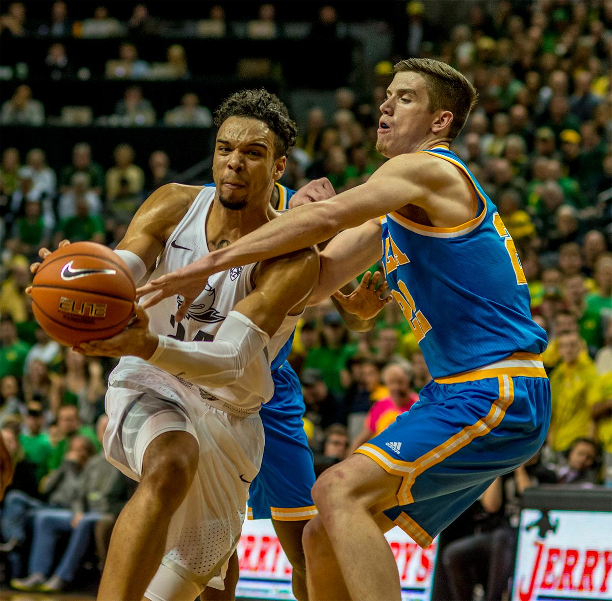The Duck's Dillon Brooks (#24) pushes his way through the Bruins defense on his way to the basket. With two seconds left in the game Dillon Brooks (#24) scored a three pointer to give them the lead, 89-87, over No. 2 UCLA and take the win on Wednesday at Matthew Knight Arena in front of a sold out crowd. Brooks finished with 23 points, Payton Pritchard (#3) added another 15 points and Jordan Bell (#1) added 13. The Ducks are now 12-2 and 1-0 in the Pac-12. Photo by August Frank, Oregon News Lab