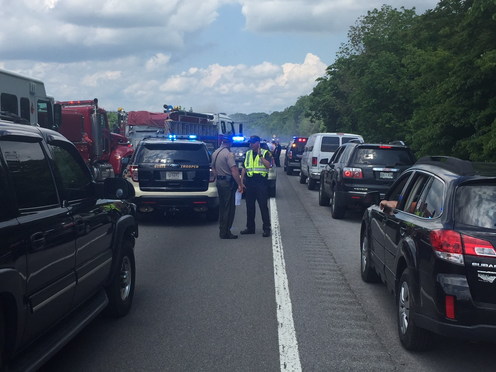 Traffic was at a stand still Wednesday afternoon following a crash between a Walmart tractor trailer and motorcycle riders involved in a 'Run for The Wall' event on Interstate 81 near Fall Branch, Tennessee. (K. Roberts, WCYB)<p></p>