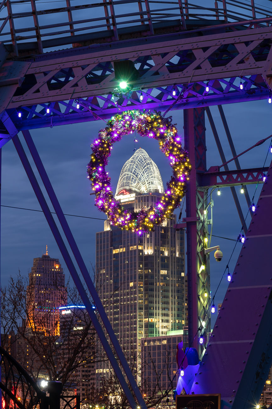 The lit wreath at the Newport end of the bridge. / Image: Phil Armstrong // Published: 12.1.20