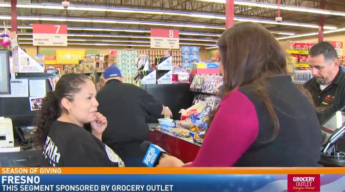 Liz surprises Gloria, shopping at the Grocery Outlet on W Shaw in fresno<p></p>