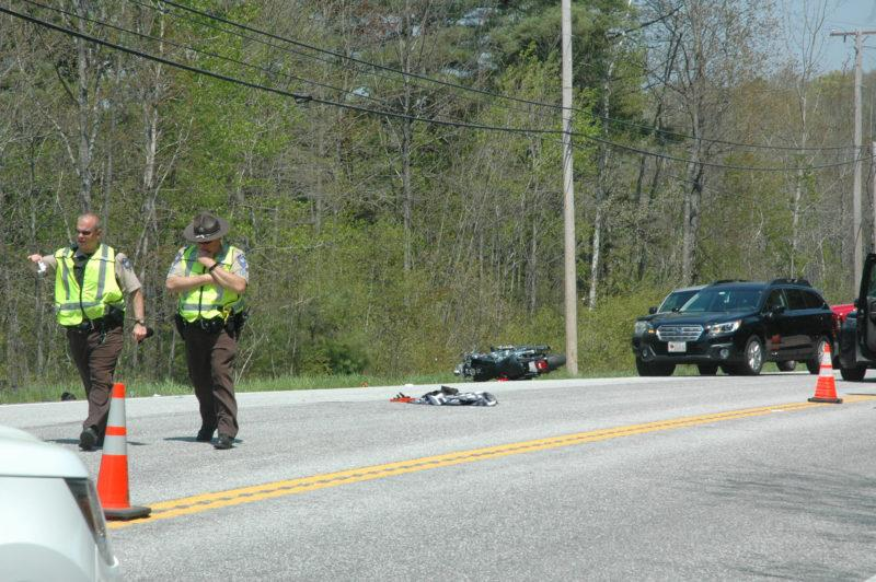 Deputies investigate the scene of an accident on Route 1 in Nobleboro. (The Lincoln County News/Alexander Violo)