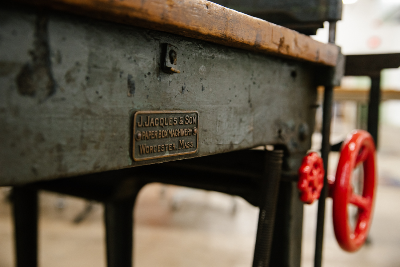 A 1,200-lb board shear from Massachusetts, made in 1900, graces a corner of the Strange Stock studio. Moeller painted the handles the bright red. / Image: Melissa Sliney // Published: 9.7.19