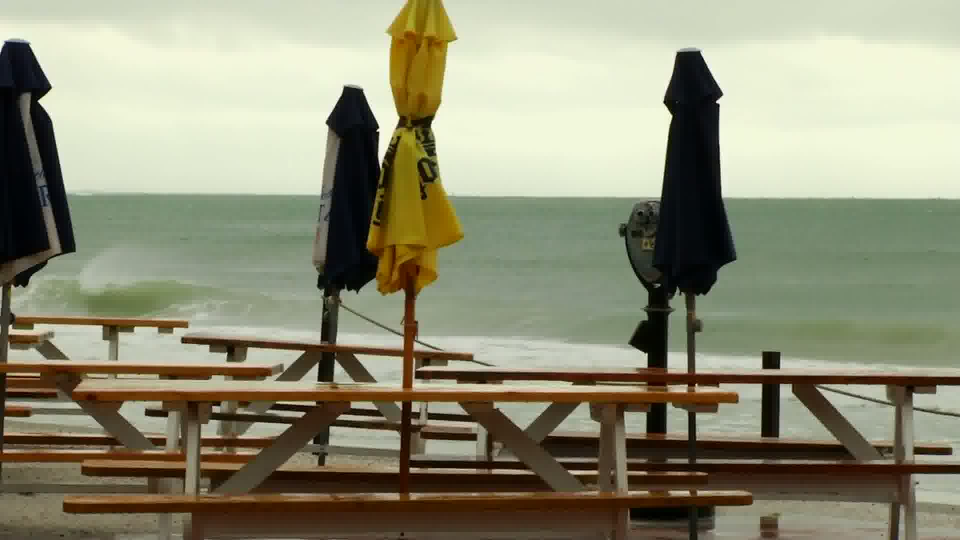 Beaches were empty in Pass-a-Grille, Florida, Monday, July 31, 2017, ahead of Tropical Storm Emily. (Bay News 9)