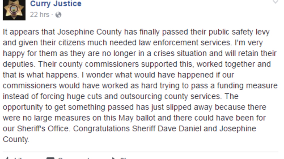 Curry County Sheriff responds to Josephine County's ...