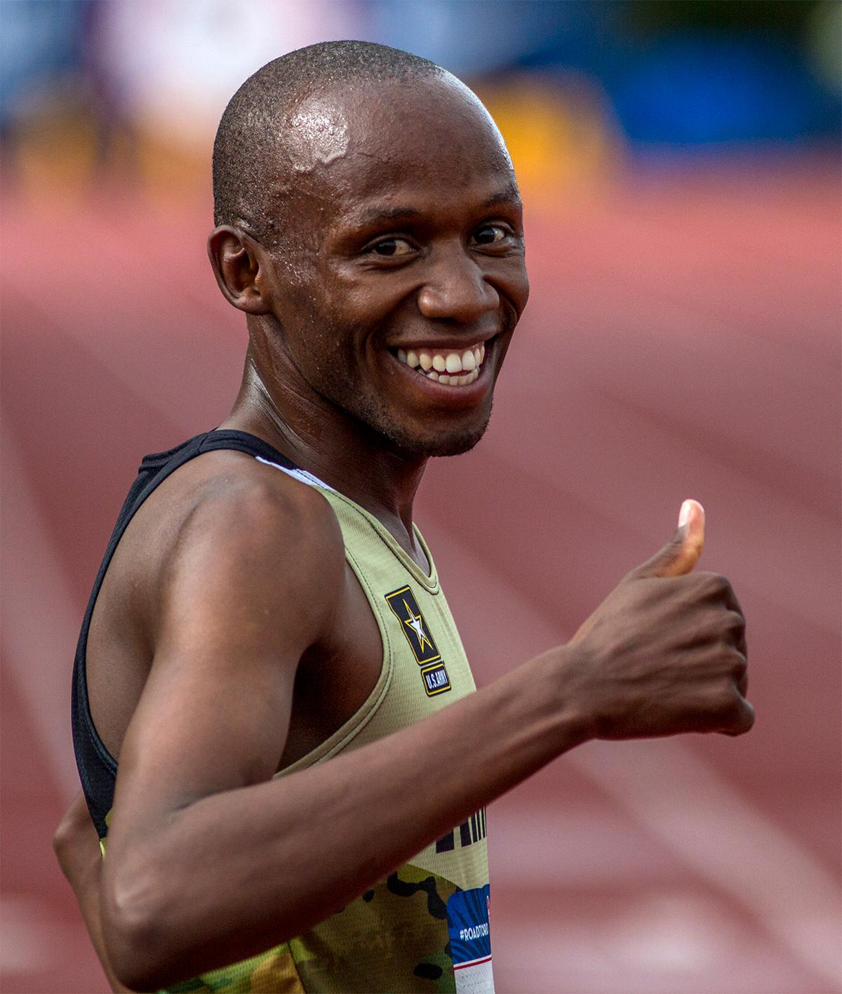 It was thumbs up for Hillary Bor's second place in the 3,000 meter steeplechase final in a time of 8:24.10. Photo by August Frank, Oregon News Lab