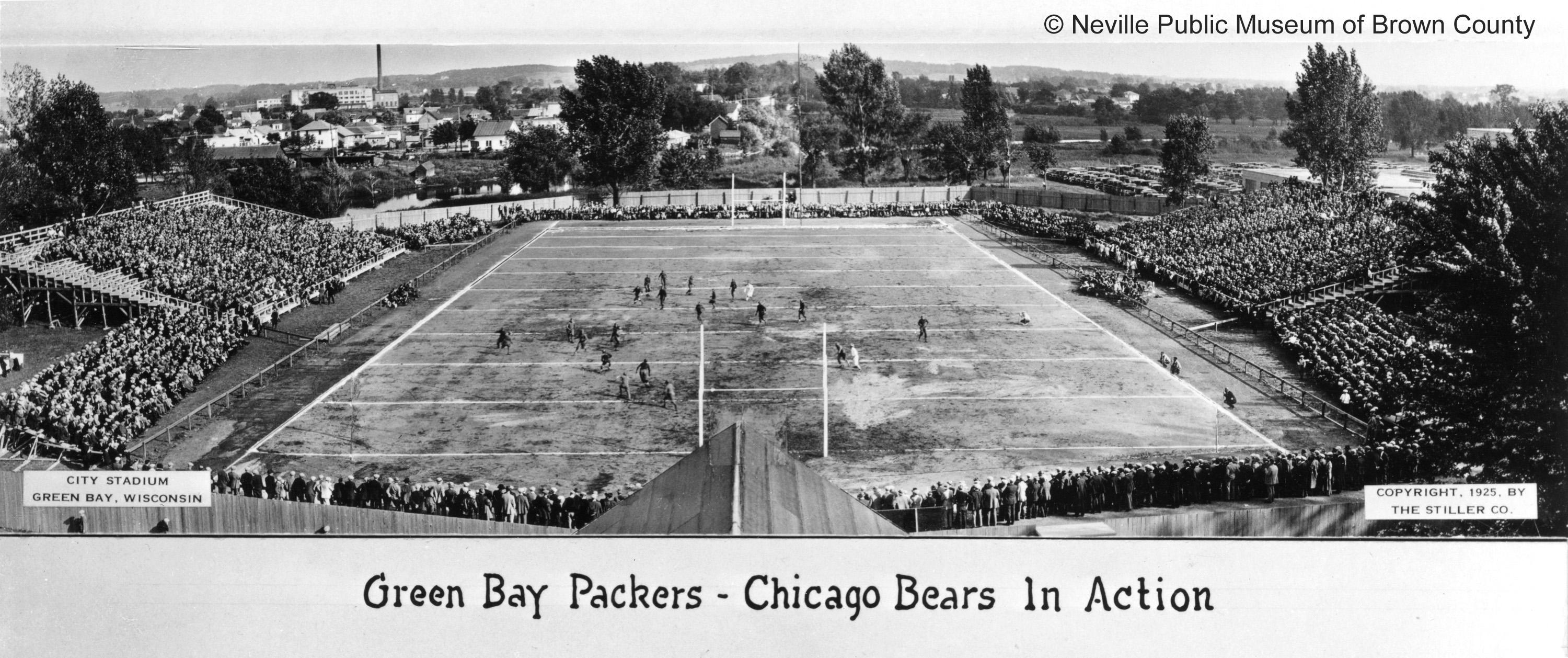 End zone view of Green Bay Packers in action against the Chicago Bears, with standing room only for fans. (Courtesy: Neville Public Museum of Brown County)