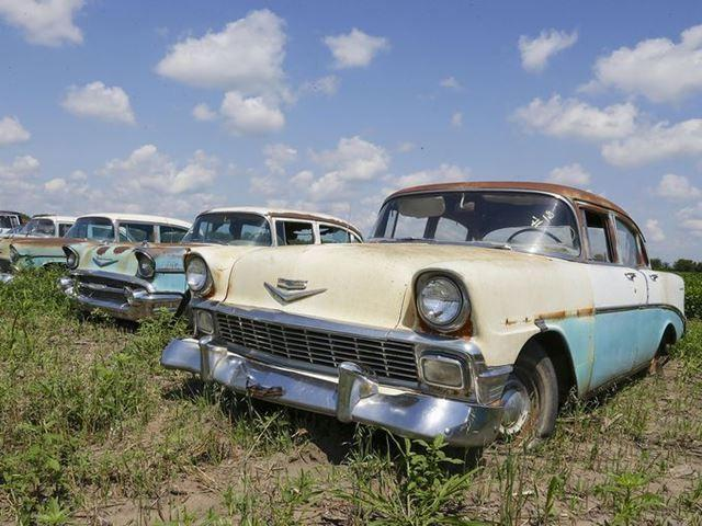 A 1956 Chevrolet among the autos 500 vinatge cars and trucks lined up in a field near the former Lambrecht Chevrolet car dealership for the auction last weekend.