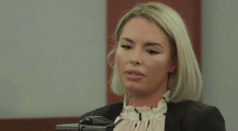 Christy Mack testifies in the trial for War Machine on Wednesday, March 8, 2017, at the Regional Justice Center in Las Vegas. (Adrian Crooks/KSNV)