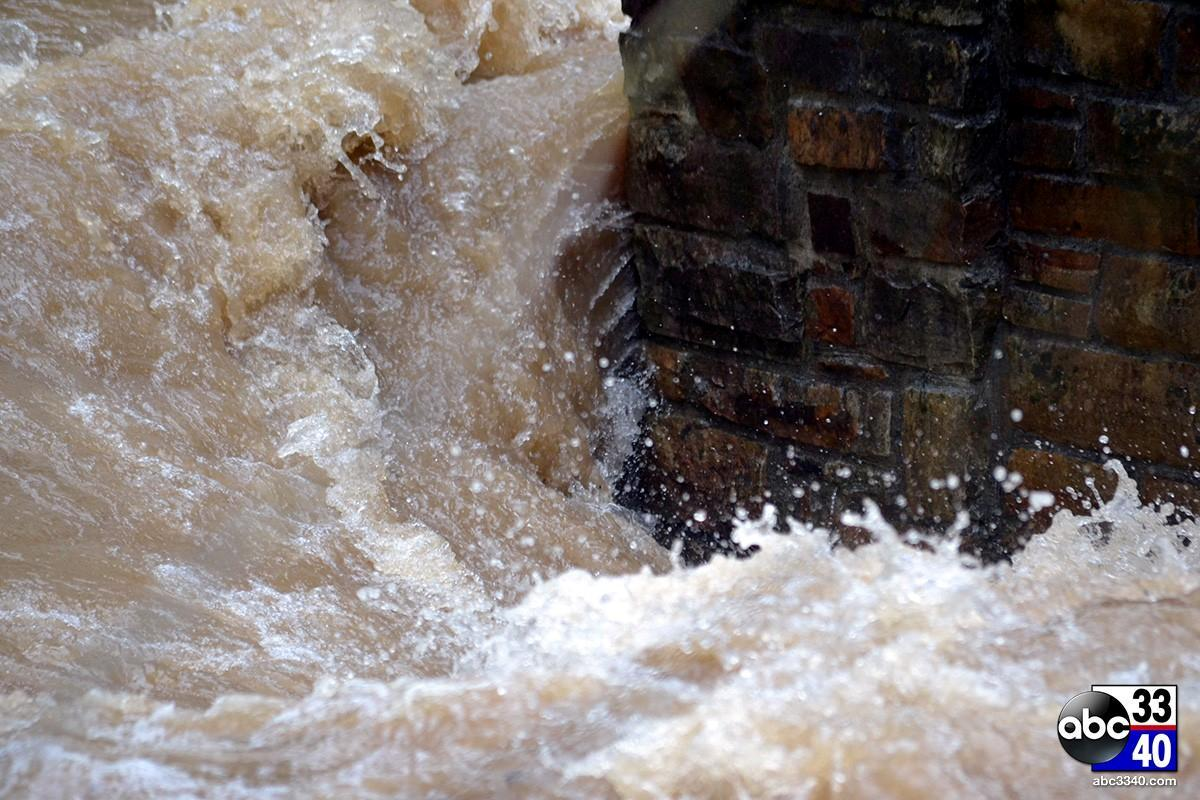 Heavy rains caused the Cahaba River to swell near Jemison Park in Mountain Brook, Ala., Monday, April 7, 2014.