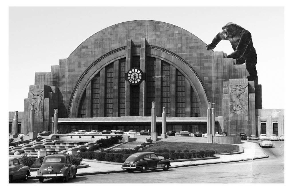 """Was ever so much ruckus caused as when a gigantic ape, caught in a faraway land and exhibited in New York, broke lose and went on a rampage through this great land in the 1930s? Here in Cincinnati, the giant primate was drawn to the newly-built Union Terminal for reasons unknown. Some claimed it was because of the building's resemblance of a mountain on Skull Island; others said that he was simply trying to catch a train."" / Image courtesy of Matt Buchholz, Alternate Histories // Published: 6.19.19"