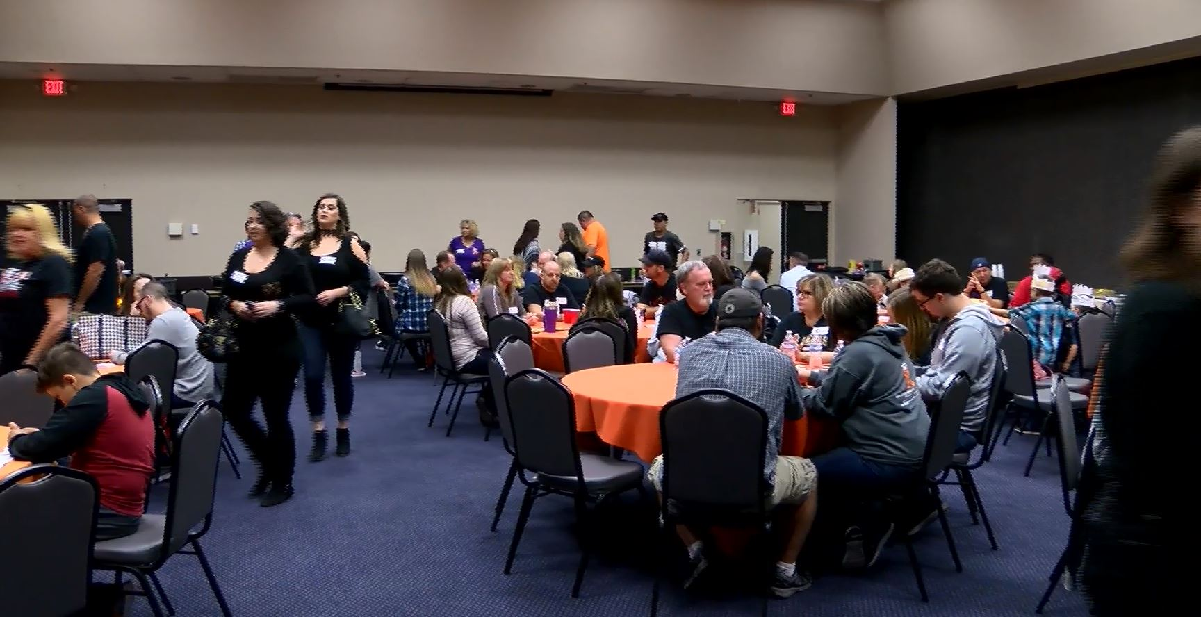 Survivors of the Route 91 Harvest Festival shooting gather Saturday, November 25, 2017, for a potluck dinner at the Henderson Events Center. (Corwin Hall/KSNV)