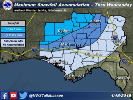 Forecast snow accumulations of one-half inch to one inch could lead to slick roads. / NWS<p></p>