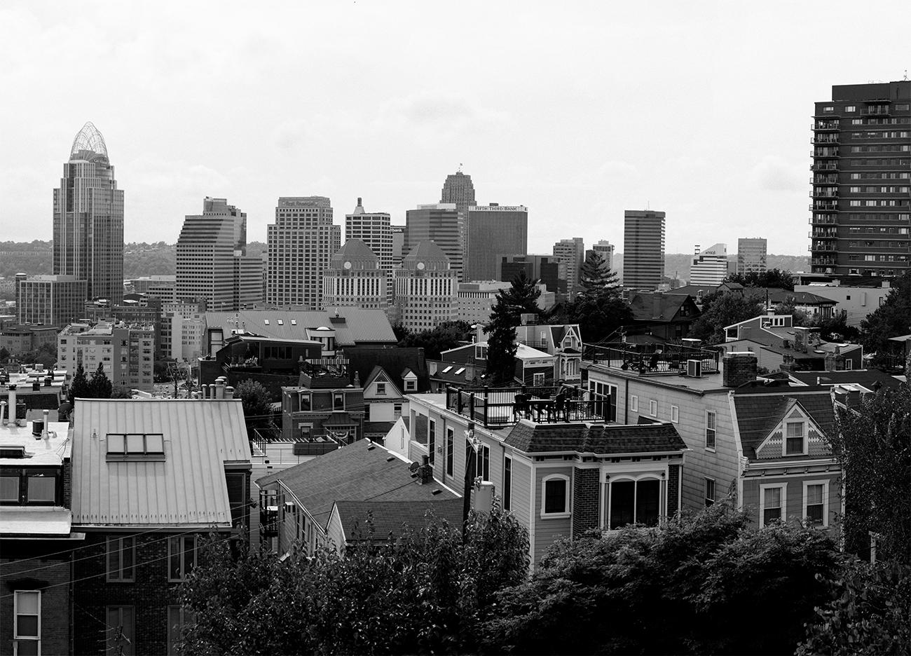 Closeup detail of a panoramic photo of Cincinnati looking west from Mt. Adams by Chris Glass from 2018. View the whole image by going to the Public Library downtown and seeing the Panorama of Progress exhibit. The exhibit runs until October 31. ADDRESS: 800 Vine Street (45202) / Image courtesy of the Public Library of Cincinnati // Published: 10.4.18