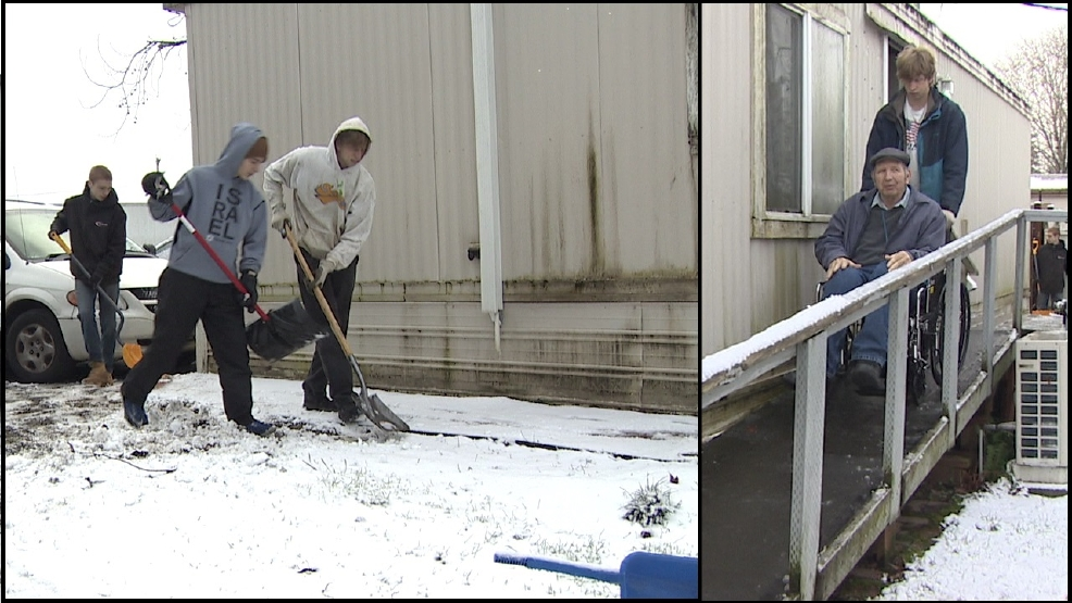 Teens take time out on snow day to help man in need, and vice versa