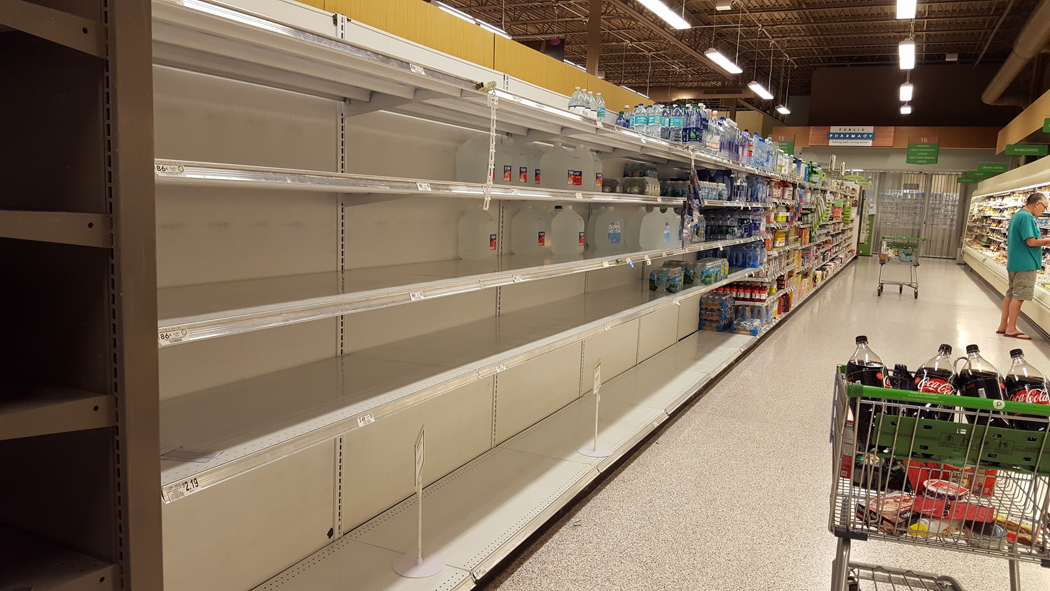 Bottled water shelves were bare Monday night at the Publix in Alachua. Courtesy Jen Webb.