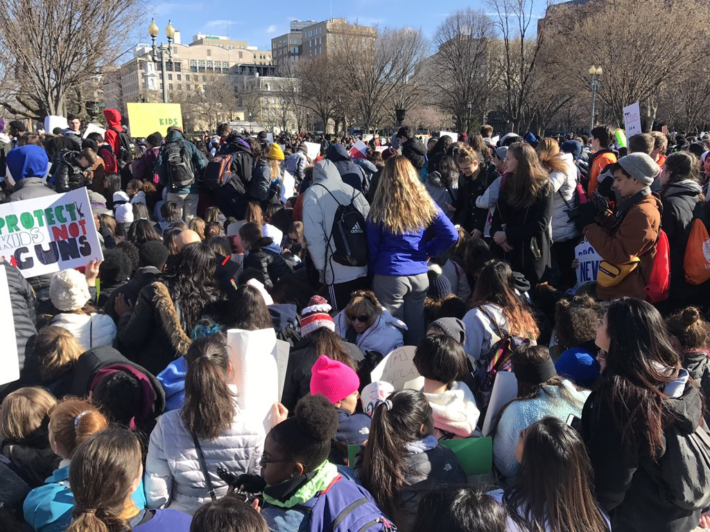 Students protesting gun violence demonstrate in front of the White House on Wed., March 14, 2018. (Caroline Patrickis, @CPatrickis / WJLA)
