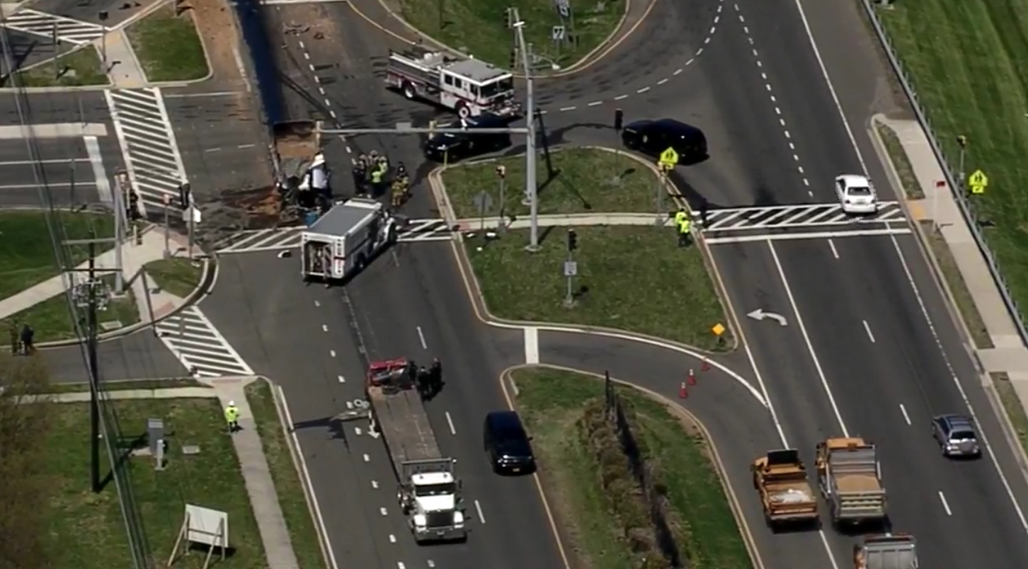 A dump truck and tractor trailer were involved in a deadly crash in Prince George's County, Md.{ } Friday, April 20, 2018 (SkyTrak7){ }