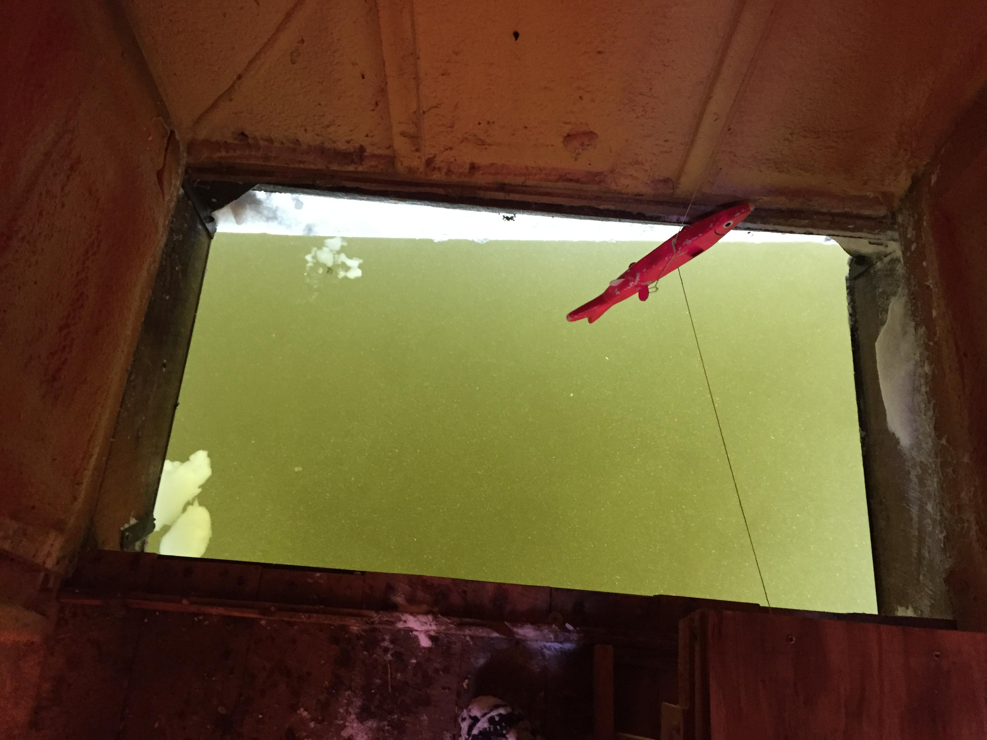 Water clarity conditions inside a sturgeon spearing shack on Lake Winnebago, February 8, 2018 (WLUK/Eric Peterson)