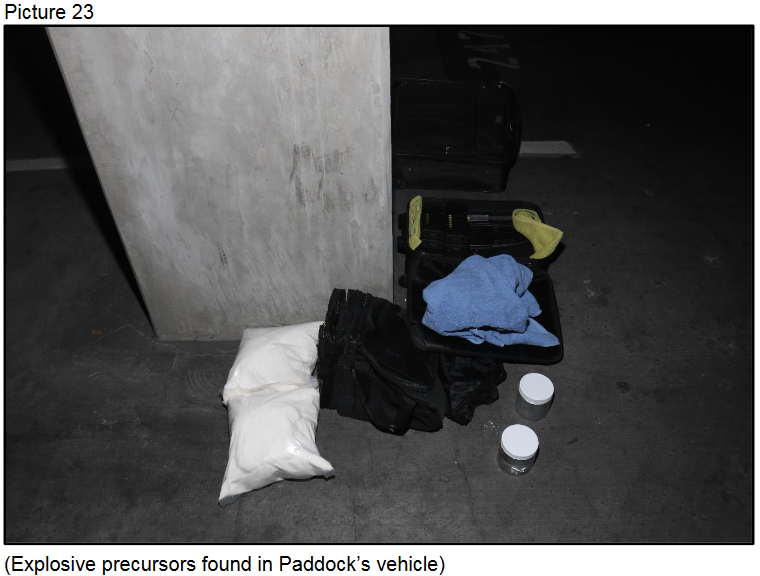 Explosive precursors found in Paddock's vehicle{ }(Courtesy LVMPD)