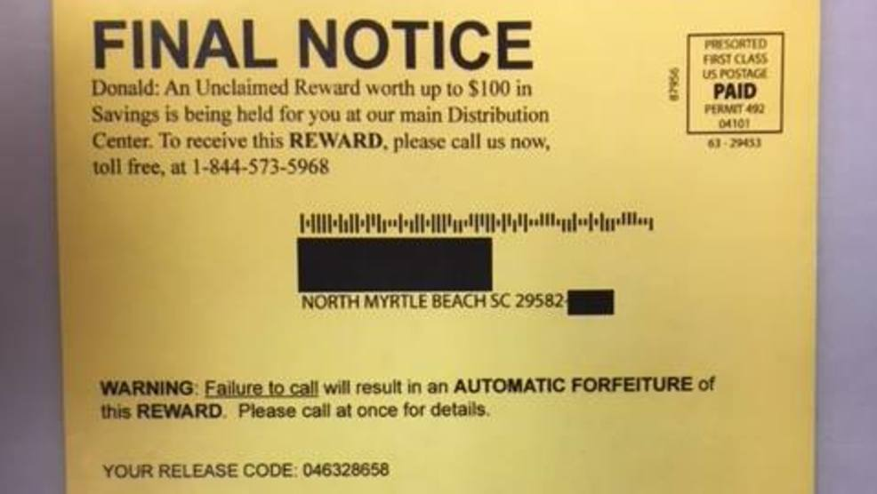 police warn about scam postcards