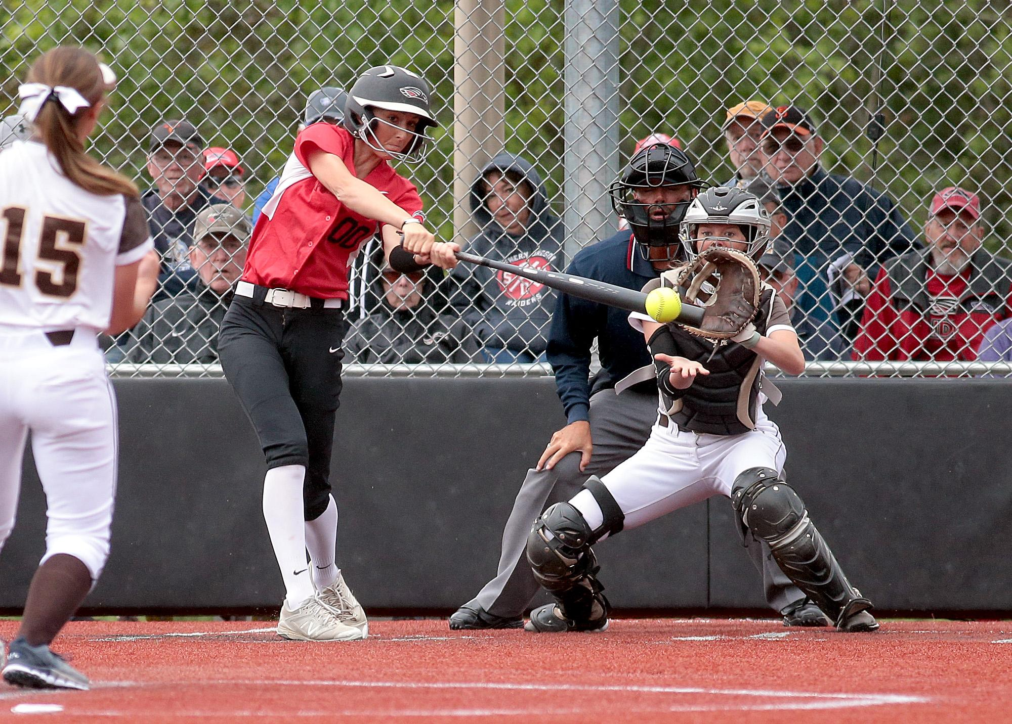 Larry Stauth Jr./For the Daily TidingsSouthern Oregon University freshman second baseman Hannah Shimek was one of the offensive catalysts during the Raiders' NAIA Opening Round showing earlier this week at U.S. Cellular Community Park in Medford.