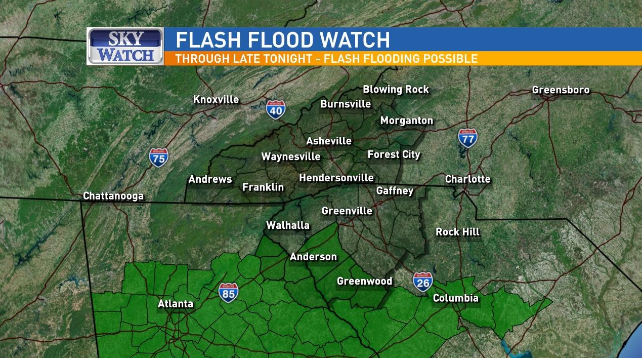 A Flash Flood Watch has been issued for Stephens, Franklin, Hart, Elbert, Anderson, Abbeville and Greenwood counties until late Wednesday night. (Photo credit: WLOS Staff)