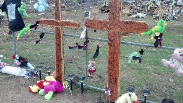 A memorial has been set up at the former site of Plaza Towers Elementary.