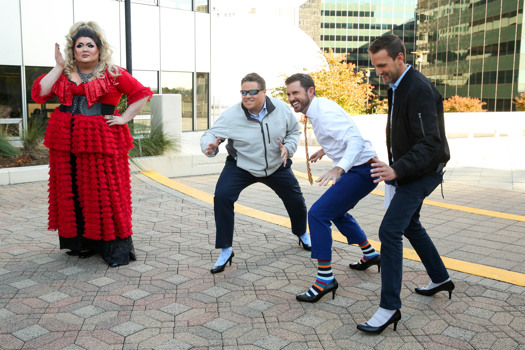 The 17th Street High Heel race is a D.C. tradition, but Good Morning Washington has its own version. Brian Van De Graff has won for several years in a row, but this year the crown went to GMW anchor Jessob Reisbeck.{ } (Amanda Andrade-Rhoades/DC Refined)