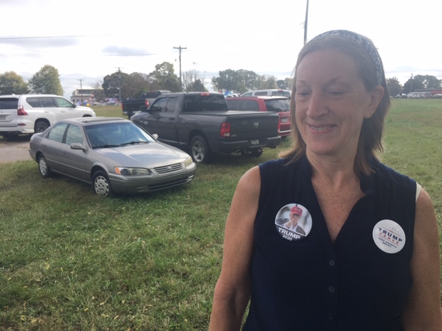 Oct. 27, 2020 - Diane Stanley drove from Easley, South Carolina for Vice President Mike Pence's rally, saying even though President Donald Trump will not be at the rally she is doing whatever she can to support him. (Photo credit: WLOS Staff)