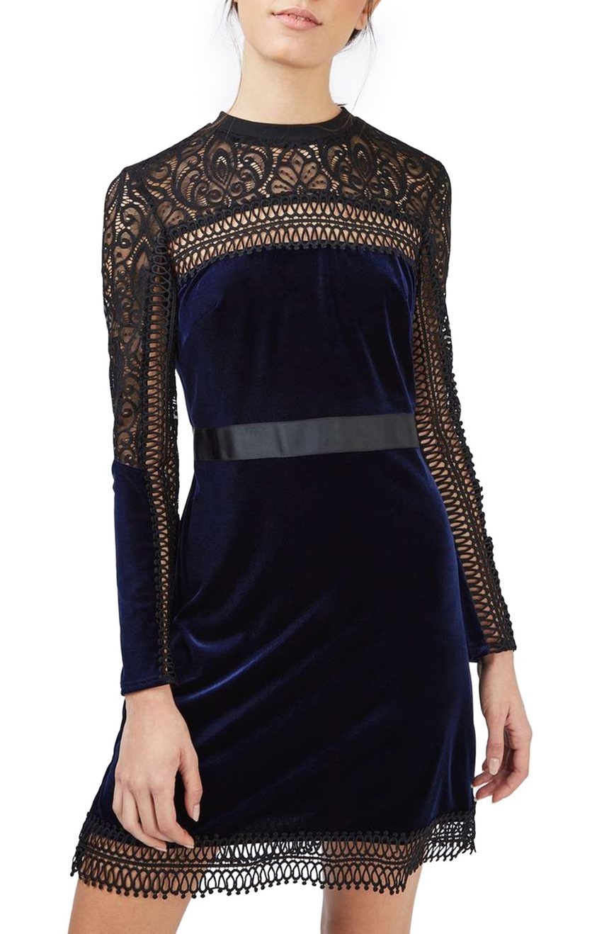 This 'Lace & Velvet Dress' is super gorgeous, and that price!  A steal. $100.00 (Image: Nordstrom)