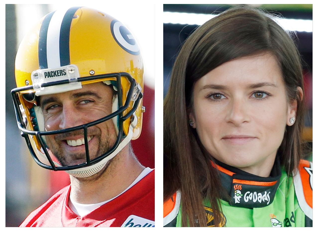 FILE - In this July 30, 2015, file photo, Green Bay Packers' Aaron Rodgers, left, smiles during NFL football training camp in Green Bay, Wis.; and in this May 23, 2015, file photo, NASCAR driver Danica Patrick waits by her car in Charlotte, N.C. Patrick, a noted Chicago Bears fan, confirmed Monday. Jan. 15, 2018, she is dating Rodgers.  (AP Photo/ Morry Gash, left, and Chris Keane, right, File)