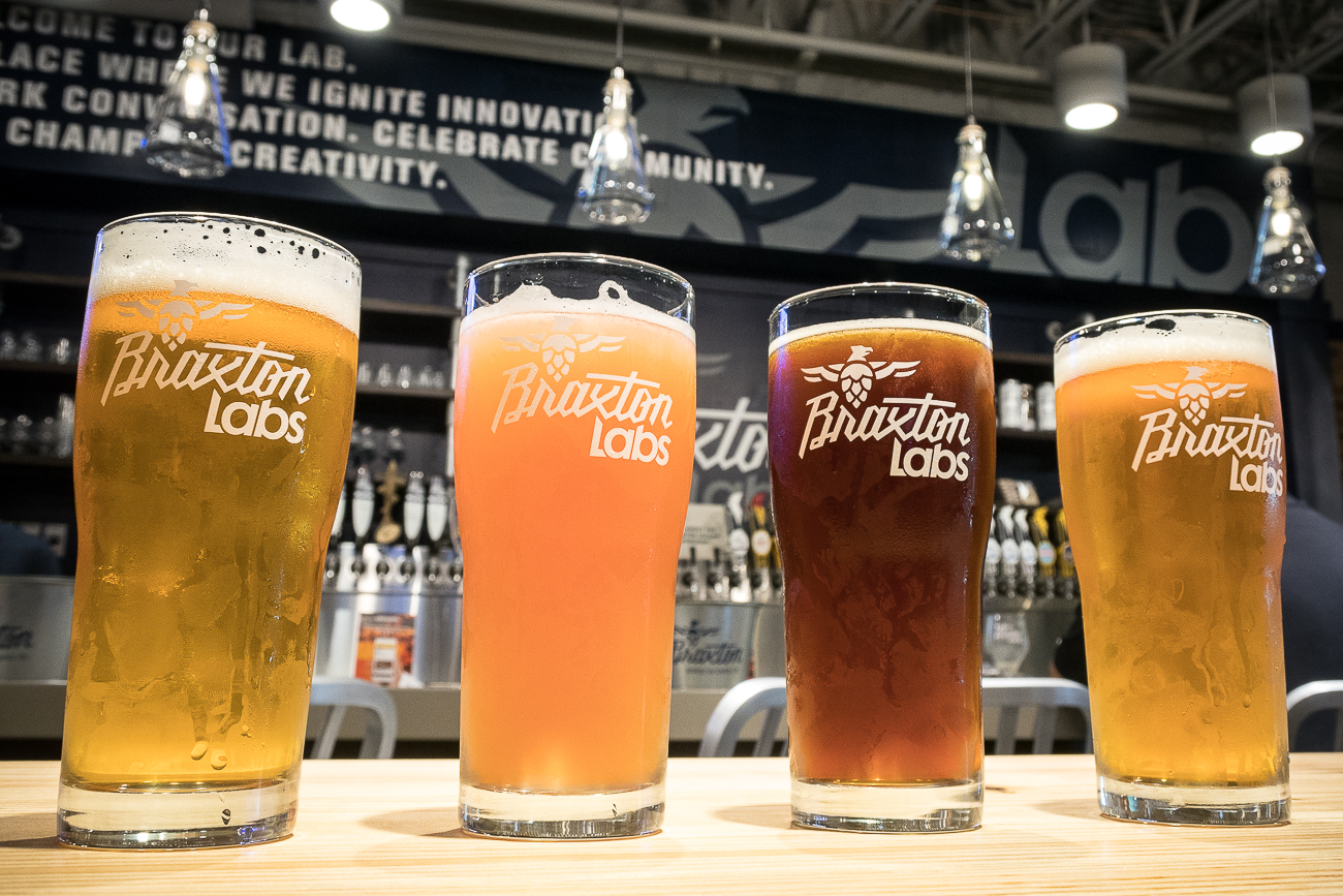 Braxton Sparky (pale wheat ale), Braxton Labs Blackberry Pale Ale, Braxton Hammerdown (altbier), and Braxton Short Fuse (pale ale American) / Image: Cincinnati Refined // Published: 8.11.17