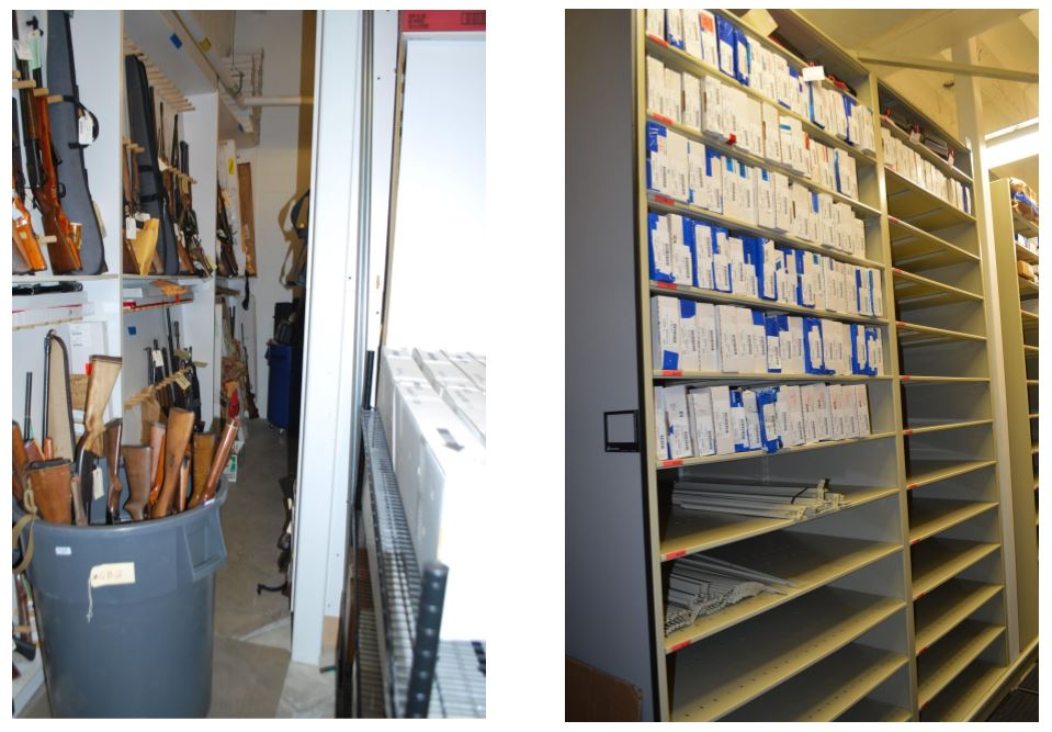 Asheville Police provided pictures to show how the evidence room used to look, compared to now.  On the left is how weapons were stored.  On the right, is how they're stored now.  (Photo credit: Asheville Police)<p></p>