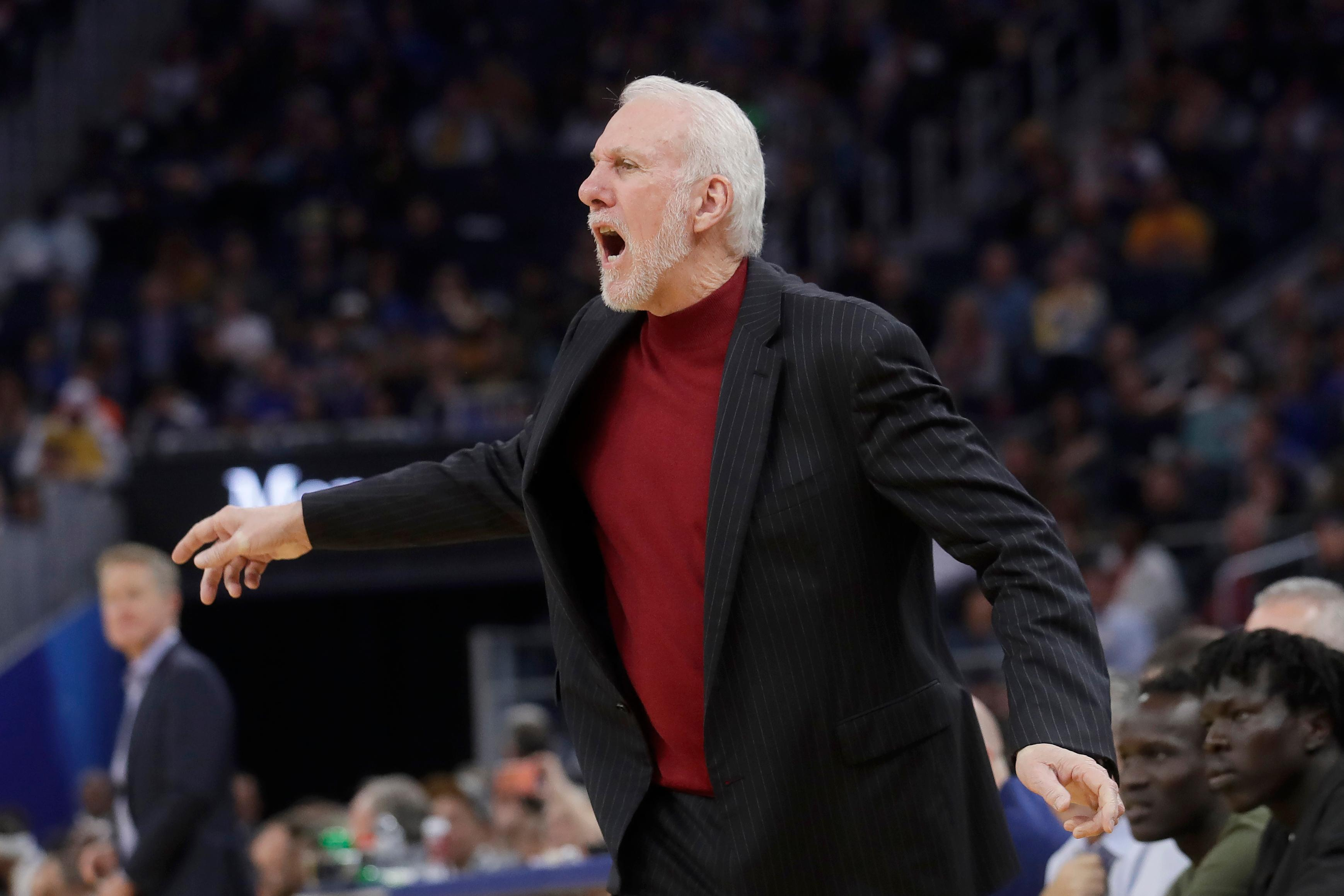 San Antonio Spurs coach Gregg Popovich yells during the second half of the team's NBA basketball game against the Golden State Warriors in San Francisco, Friday, Nov. 1, 2019. (AP Photo/Jeff Chiu)