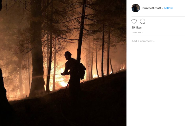 Burchett posted a series of Instagram photos from his deployment to the{ }Mendocino Complex Fire in Northern California, one of the largest wildfires in that state's history. (Photo: Matt Burchett via Instagram)