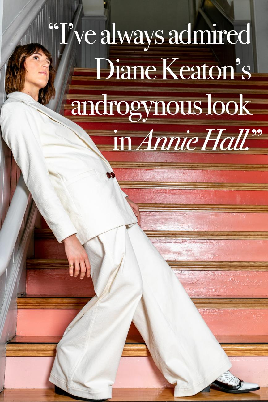 "Cincy Refined: What movies do you wish you could jump into fashion-wise? / Laura Hughes: ""I've always admired Diane Keaton's androgynous look in Annie Hall. I'm drawn to high waisted trousers, crisp button downs, and suits; they're timeless and provide a strong, unique look."" / Image: Amy Elisabeth Spasoff // Published: 10.17.18"