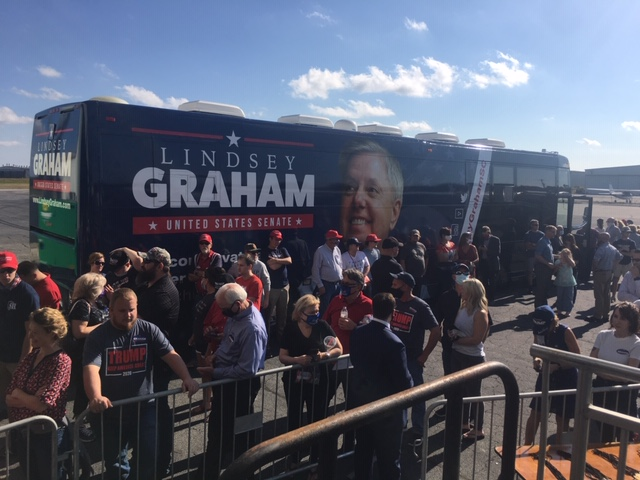 Sen. Lindsey Graham is expected at the Greenville, S.C. rally. (Photo credit: WLOS Staff)