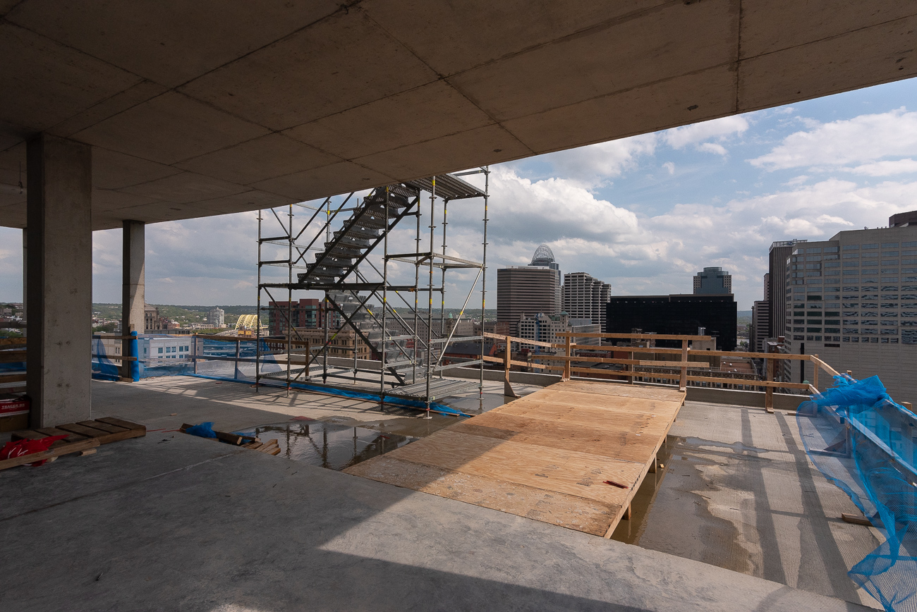 The rooftop deck as seen from the 18th floor of 1010 On The Rhine / It's still under construction along with the rest of the building.{ }/ Image: Phil Armstrong // Published: 4.30.19