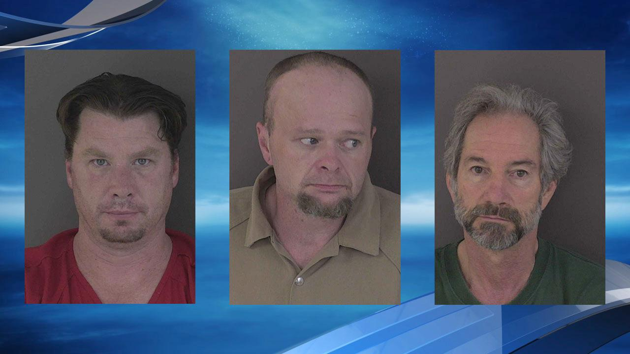 Jeremiah Alexander Hart, left, George Joseph Nelson, center,  and Mark Craig Rose mug shots courtesy Albany Police