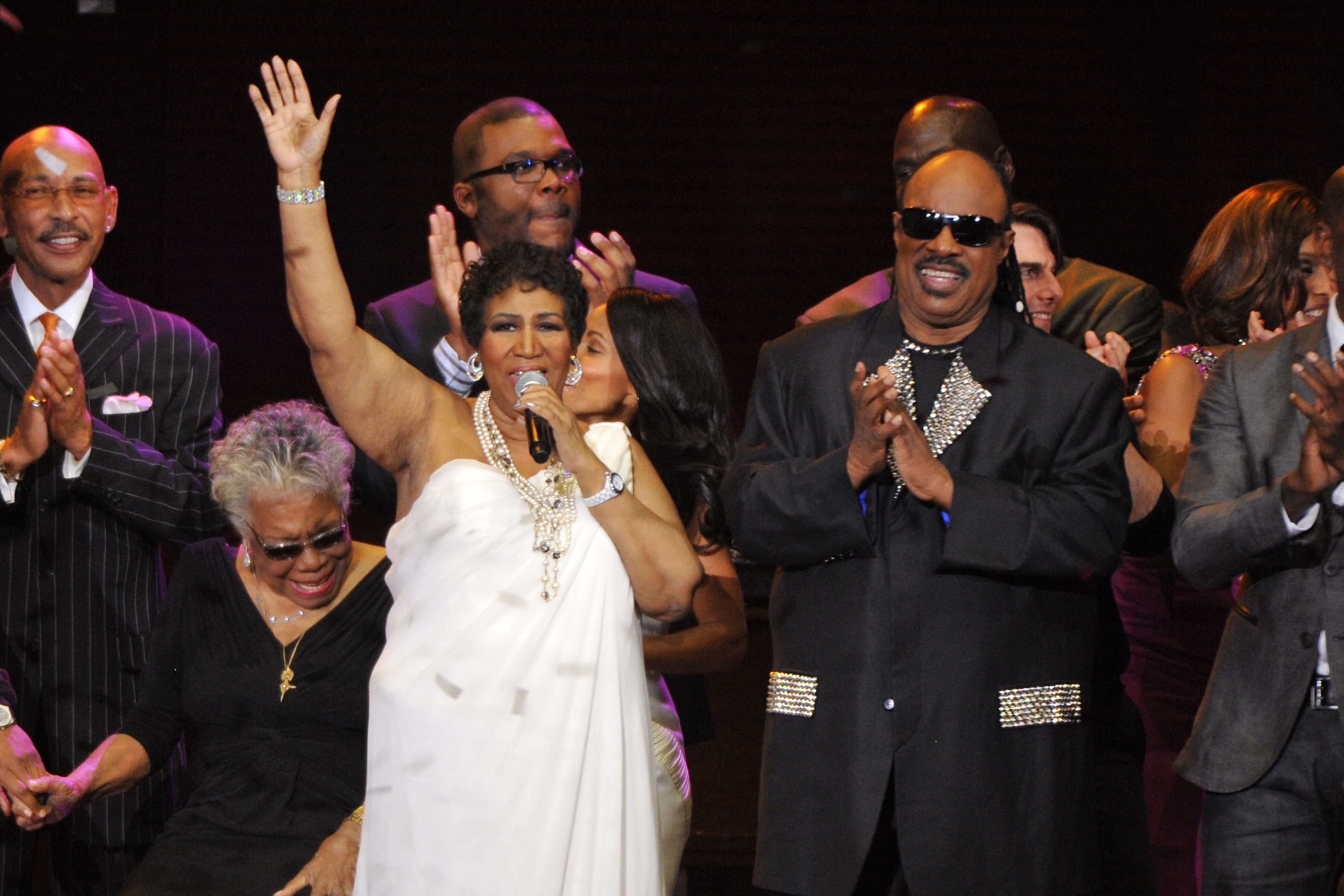 Aretha Franklin, Stevie Wonder and several others during 'Surprise Oprah! A Farewell Spectacular' at the United Center in Chicago, Illinois. (When: May 17 2011. Credit: Ray Garbo/WENN.com)