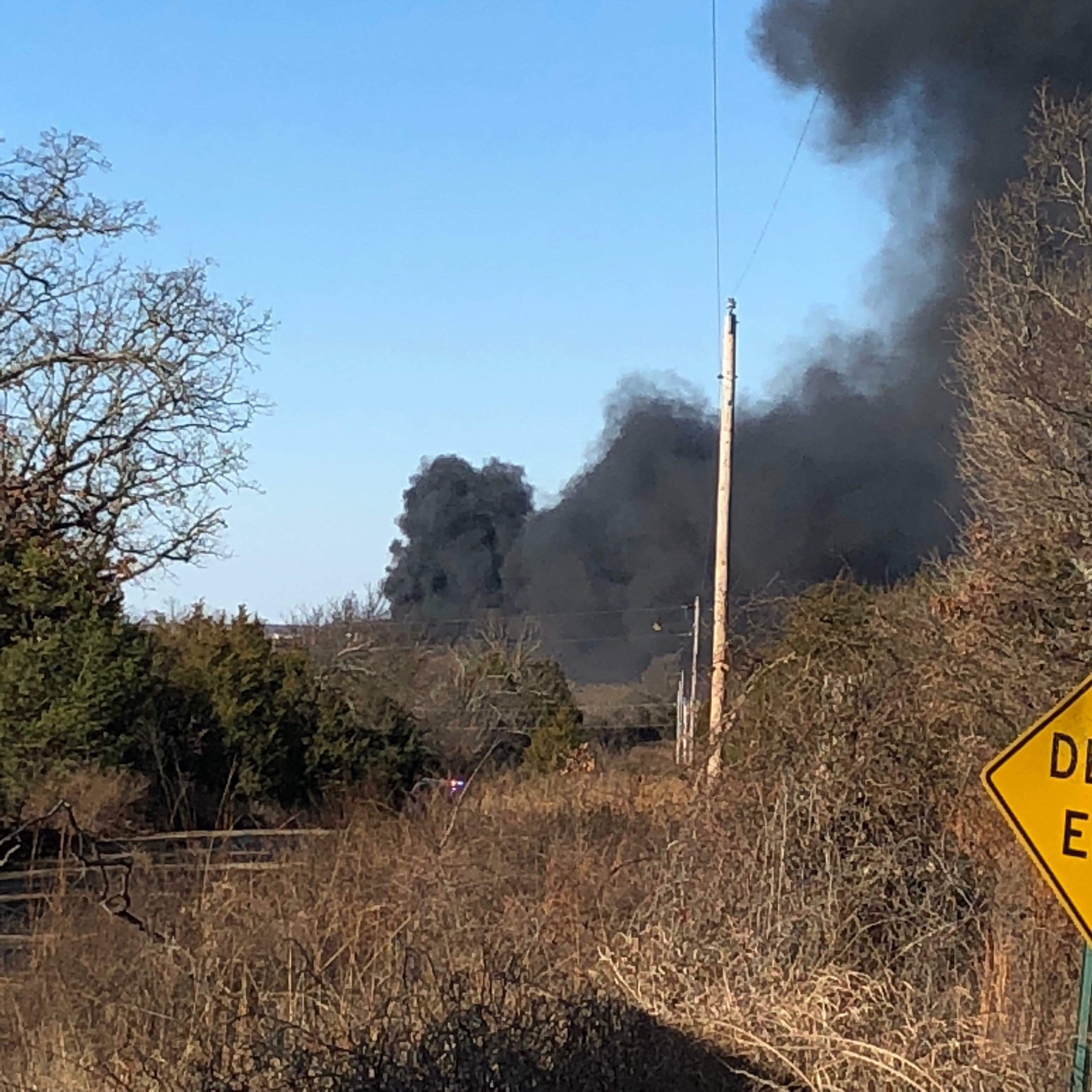 The Pittsburg County Sheriff's Office says a fire was reported near Quinton, Okla., Monday morning. Viewers say they heard and felt an explosion at the site of the rig. (Courtesy)