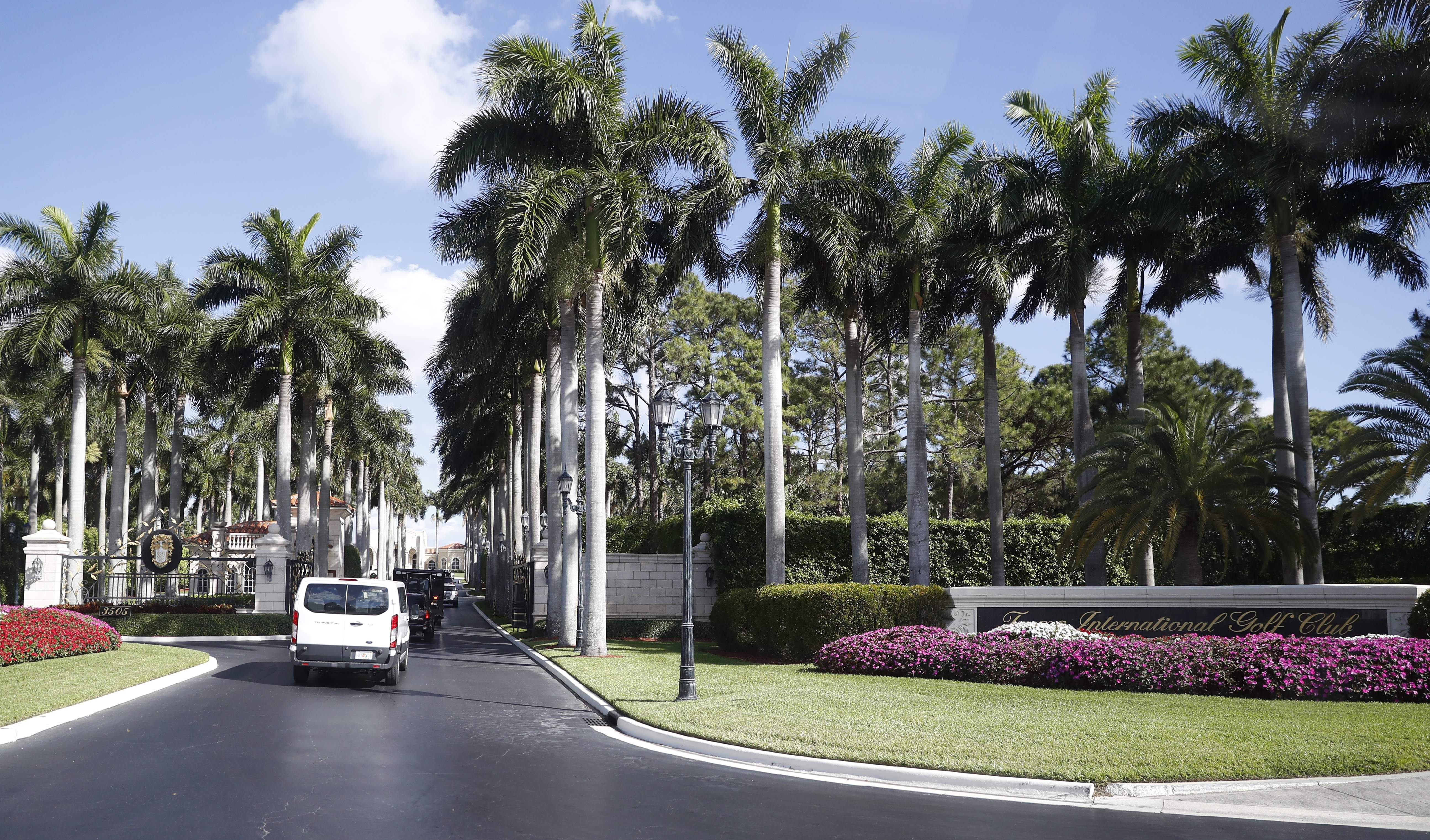 DAY 85 - In this April 14, 2017, file photo, the motorcade for President Donald Trump arrives at the Trump International Golf Club in West Palm Beach, Fla. The president was in Florida for East weekend and had no events and was not photographed on day 85. (AP Photo/Alex Brandon, File)