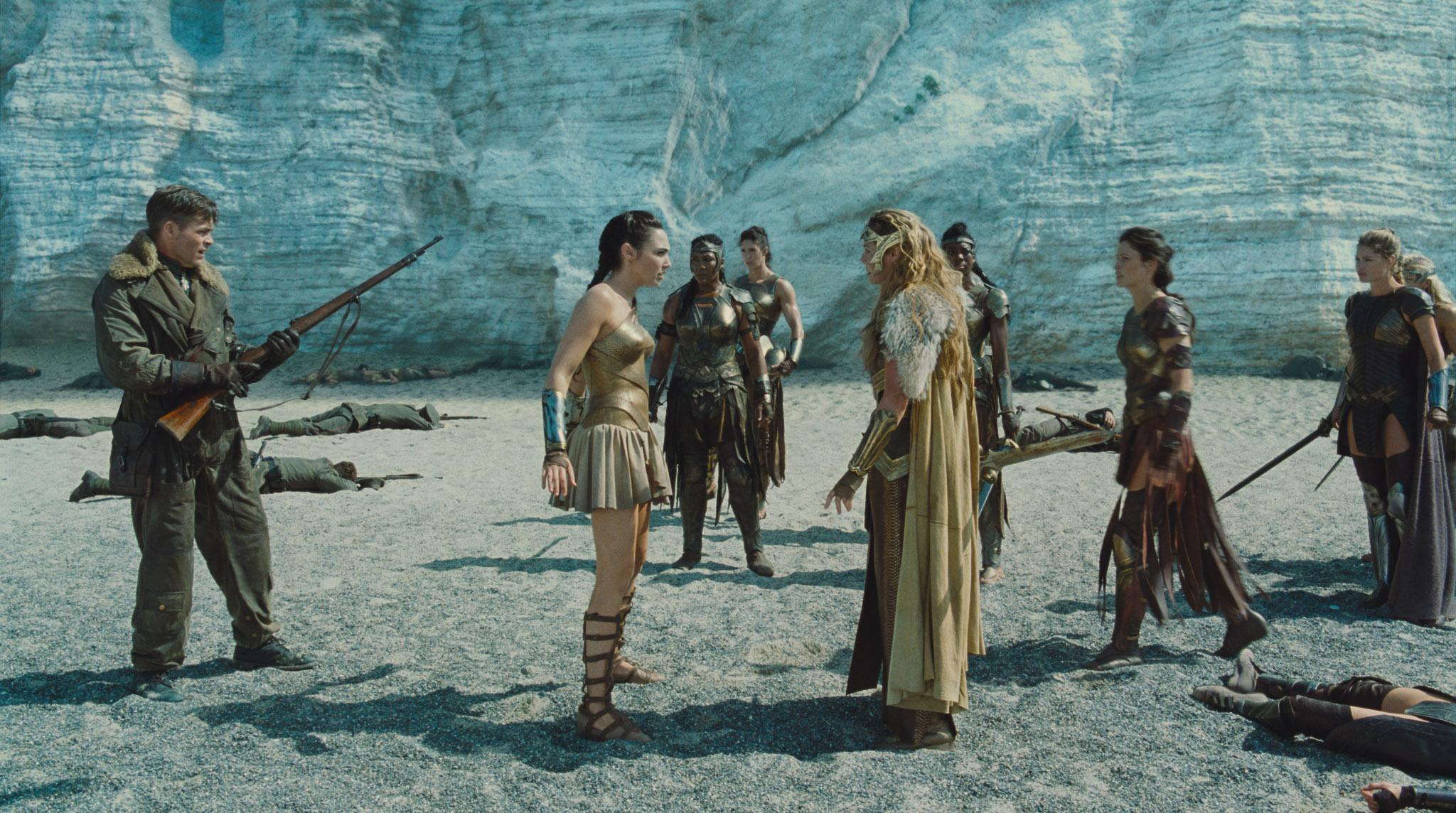 "(Forefront L-R) CHRIS PINE as Steve Trevor, GAL GADOT as Diana and CONNIE NIELSEN as Hippolyta in the action adventure ""WONDER WOMAN,"" a Warner Bros. Pictures release."
